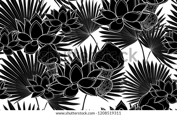 Black Lotus Flowers Palm Leaves Pattern Stock Vector Royalty Free