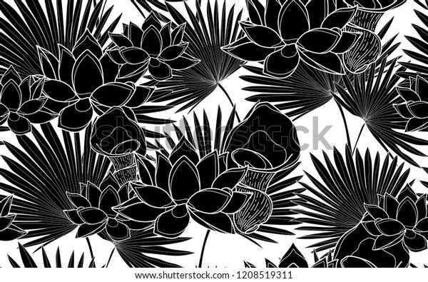 Black Lotus Flowers Palm Leaves Pattern Stock Vector Royalty Free 1208519311