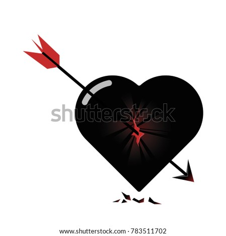 Black Love Arrow Crack On Middle Stock Vector Royalty Free