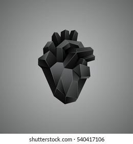 Black low poly human heart on a gray background. Abstract anatomy organ.