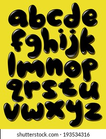 Black lower case bubble alphabet set