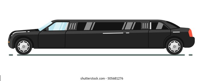 Black luxurious limousine vector illustration isolated on white background. Premium people transportation concept.