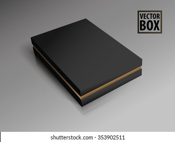 Black luxury box. Packaging. 3D illustration. Gold cardboard.