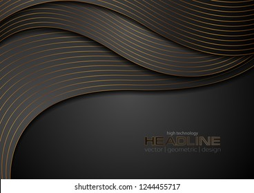 Black luxury corporate wavy background with bronze lines. Vector design