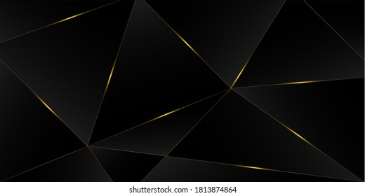 Black Luxury Gold Background. Royal Rich VIP Business Banner Golden Premium Triangular Frame Christmas New Year Celebration Border. 3D Abstract Polygonal Shiny Cover. Crystal Luxury Gold Card