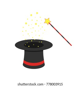 Black magic hat and magic wand with flying stars. Vector illustration. Magic show concept in flat design