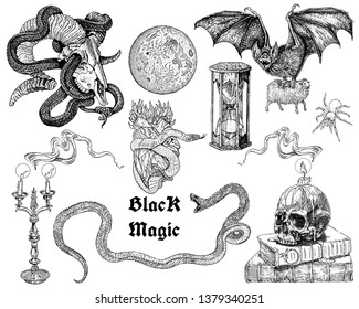 Black magic symbols collection: skulls, candles, flames, snakes, bat, full moon, heart, hourglass. Hand drawn engraving style illustrations for tattoo, sticker set isolated black on white.