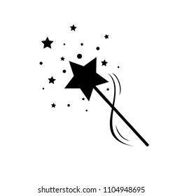 black magic wand with stars icon vector, magic stick logo, fairy tale sign
