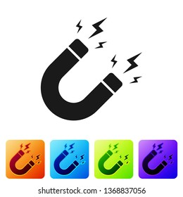 Black Magnet with lightning icon isolated on white background. Horseshoe magnet, magnetism, magnetize, attraction sign. Set icon in color square buttons. Vector Illustration