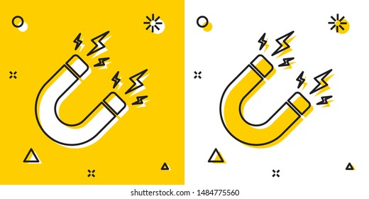 Black Magnet with lightning icon isolated on yellow and white background. Horseshoe magnet, magnetism, magnetize, attraction sign. Random dynamic shapes. Vector Illustration