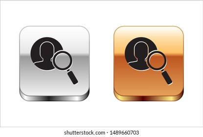 Black Magnifying glass for search a people icon isolated on white background. Recruitment or selection concept. Search for employees and job. Silver-gold square button. Vector Illustration
