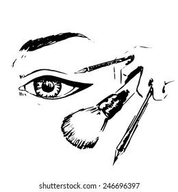 Black make up sketch, vector