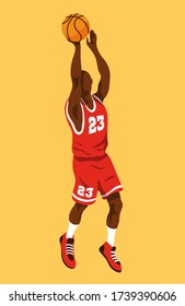 Black male basketball player jumping to shoot the ball, wearing a red jersey with the number 23. Isolated on color background editable vector illustration.