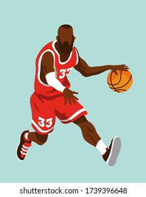 Black male basketball player running while bouncing the ball in a dynamic position. Wearing a red jersey with white details and number 33. Editable vector illustration isolated on color background