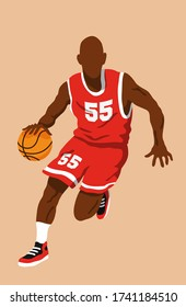 Black male basketball player running and bouncing the ball. He wears a red jersey with white stripes and number 55. Isolated and editable vector illustration.