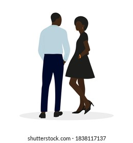 Black male character in shirt and trousers and black female character in smart dress talking on white background