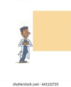 Black male doctor showing something. The character is positive, optimistic and enthusiastic. Vector illustration to isolated and funny cartoon character.