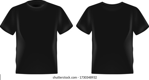 Black male t-shirt realistic mockup set from front and back view on white background, blank textile print design template for fashion apparel - vector illustration