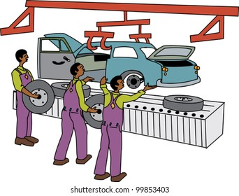 Black male workers on motor vehicle assembly line