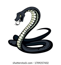 Black Mamba. Teeth bared, ready to strike. Black snake vector illustration. poisonous snake common in Africa. Black coloring of the internal cavity of the mouth. Logo for sport team. Snake mascot.