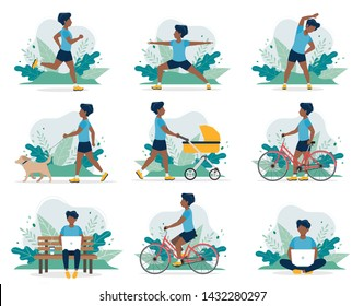 Black man doing different outdoor activities: running, dog walking, yoga, exercising, sport, cycling, walking with baby carriage. Vector illustration in flat style, healthy lifestyle concept.