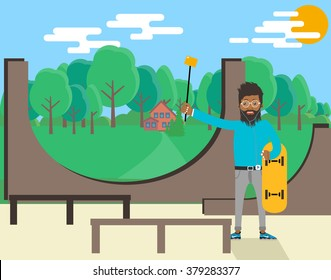 Black man on the Skate Park. Black man with a monopod for selfie. Monopod Selfie. Sports playground with a black man in a modern flat design.Park area with trees in the background.