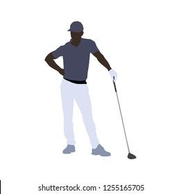 Black man playing golf, silhouette.