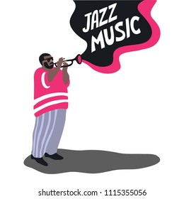 Black man is playing on a trumpet. Jazz musician. Isolated vector illustration.