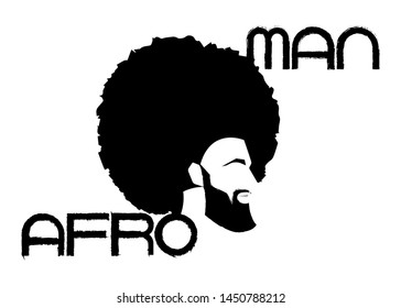 black man portrait with afro curly design, Barber shop and hairstyle. Healthy sporty young black man with beard, mustache and sideburns. Logo icon Afro Man text isolated avatar on white background