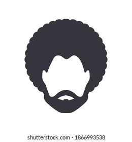 Black man portrait with afro curly design, Barber shop and hairstyle. Logo icon isolated avatar on white background