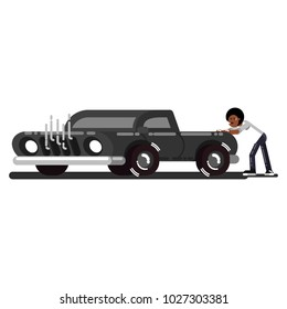Black man pushes the broken car