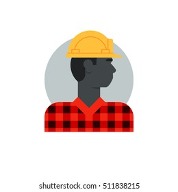 Black man, side view construction worker, labor force, contractor occupation job. Flat design vector illustration. Male character turned head