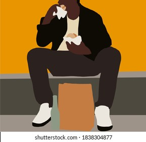Black man sitting on street eats hamburger. Hungry guy holds a piece of hamburger in his hands, looks at him and is going to eat it. Fast food.