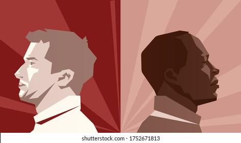 A black man and a white man sit back to back. Black lives metter. No racism concept. Vector illustration 3D.