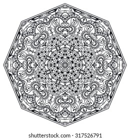 Black Mandala geometric round ornament, tribal ethnic arabic Indian motif, eight pointed circular abstract floral pattern. Hand drawn decorative vector design element