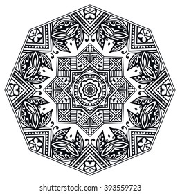 Black Mandala round ornament decorative isolated element, geometric floral circular pattern. Tribal ethnic Arabic Indian motif. Hand drawn fantasy abstract background