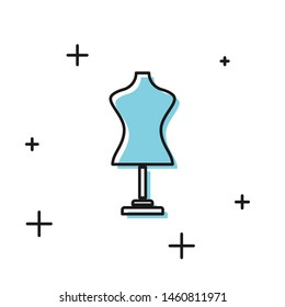 Black Mannequin icon isolated on white background. Tailor dummy.  Vector Illustration