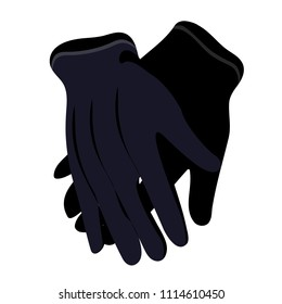 Black man's old, retro, vintage gloves. Modern flat cartoons style vector illustration icons. Isolated on white background. Male gloves. Leather gloves. Gloves