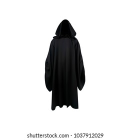 Black mantle, cloak, cape. Vector illustration.