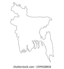 Black Map Of Bangladesh Isolated On White Background, Vector Illustration world geography