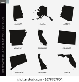Black map collection of USA states, black contour maps. US state map collection Part 1.
