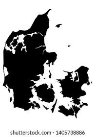 Black Map of Denmark on White Background