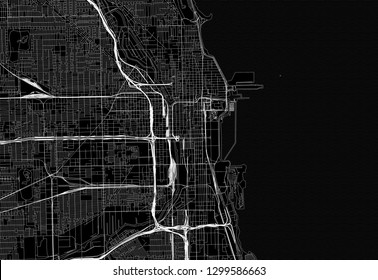Black map of downtown Chicago, U.S.A. This vector artmap is created as a decorative background or a unique travel sign.