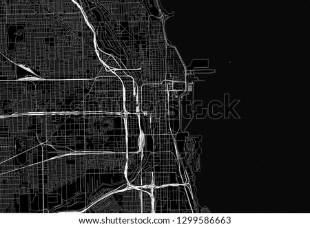 Black Map Downtown Chicago USA This Stock Vector (Royalty Free ... on