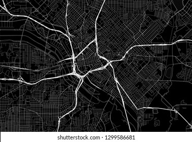 Black map of downtown Dallas, U.S.A. This vector artmap is created as a decorative background or a unique travel sign.