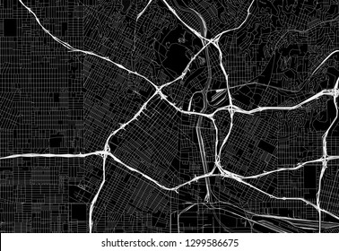 Black map of downtown Los Angeles, U.S.A. This vector artmap is created as a decorative background or a unique travel sign.