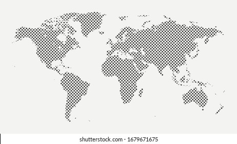 Black map of the earth in points on a white background. Vector illustration.