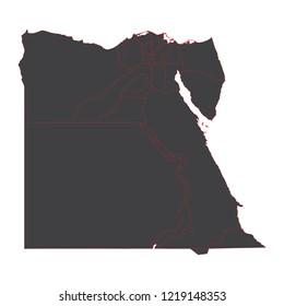 black map of Egypt