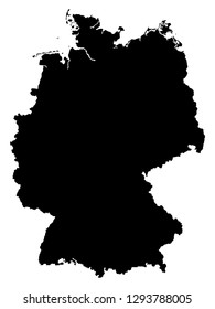 Black map of Federal Republic of Germany isolated on white background. Vector illustration EPS 10