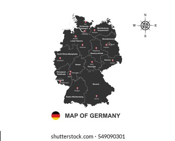 Black map of Germany with outline on white background